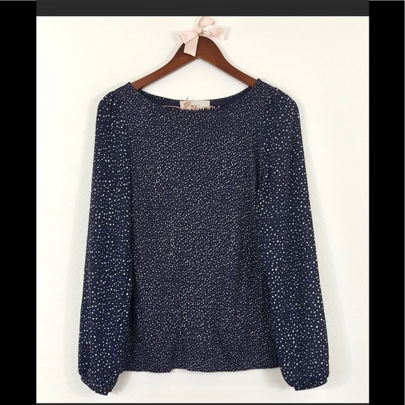 LOFT Tops - LOFT navy white spotted blouse women's XS
